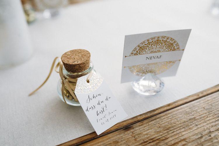 Tolle Hochzeitsdeko in Gold und Weiß