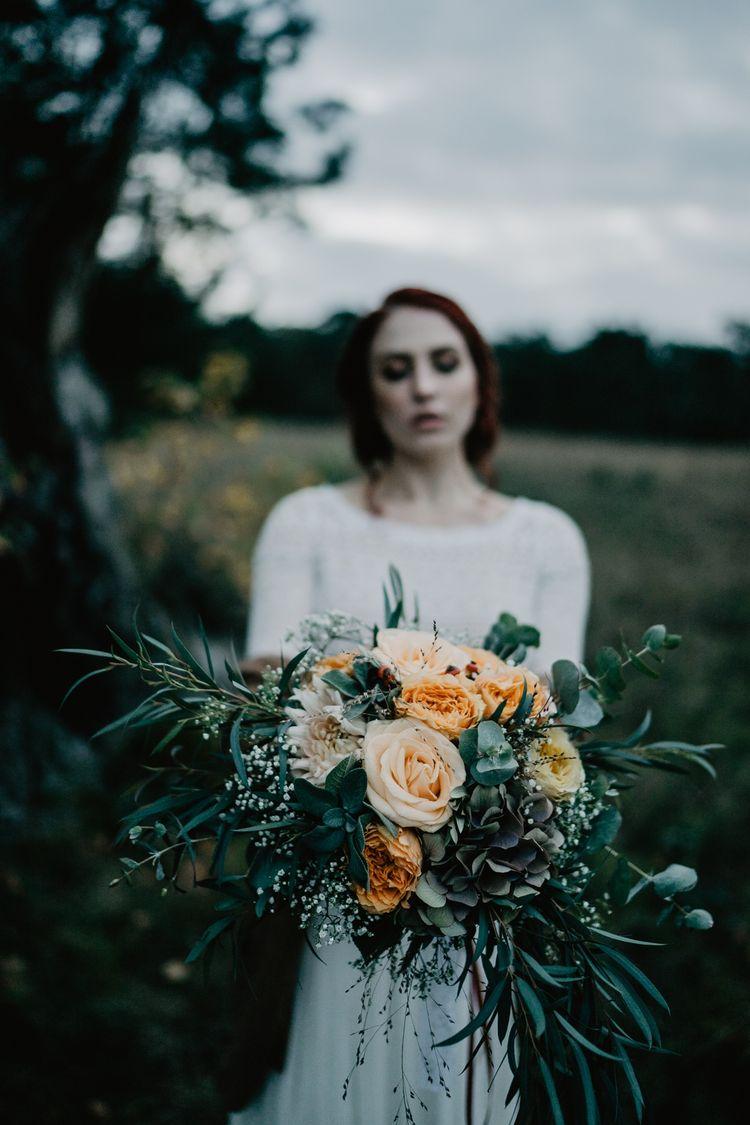 Boho Brautstrauß mit Eucalyptus